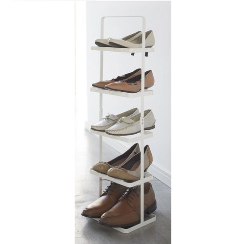 Yamazaki Tower narrow shoe rack white